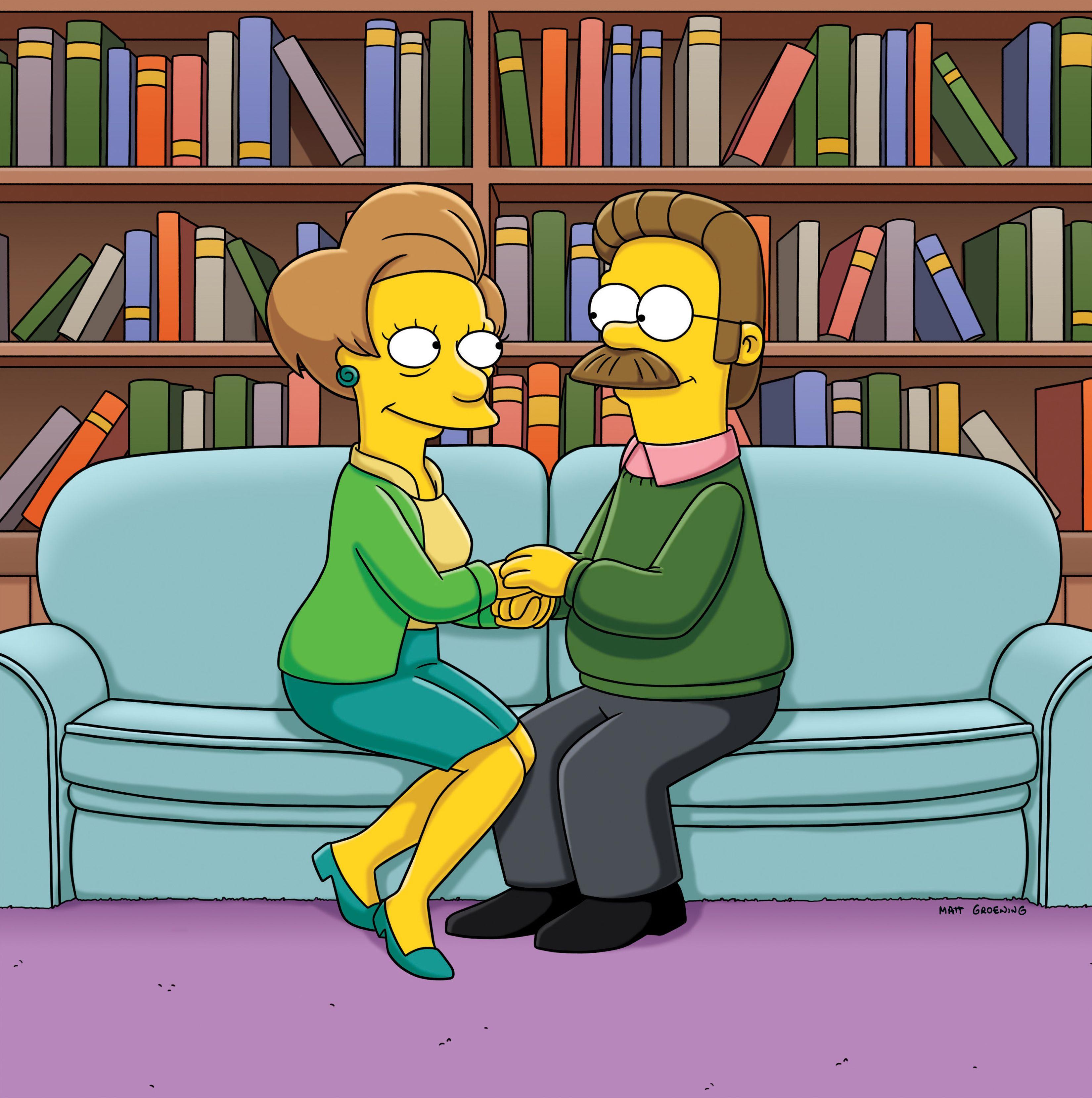 Edna Krabappel and Ned Flanders
