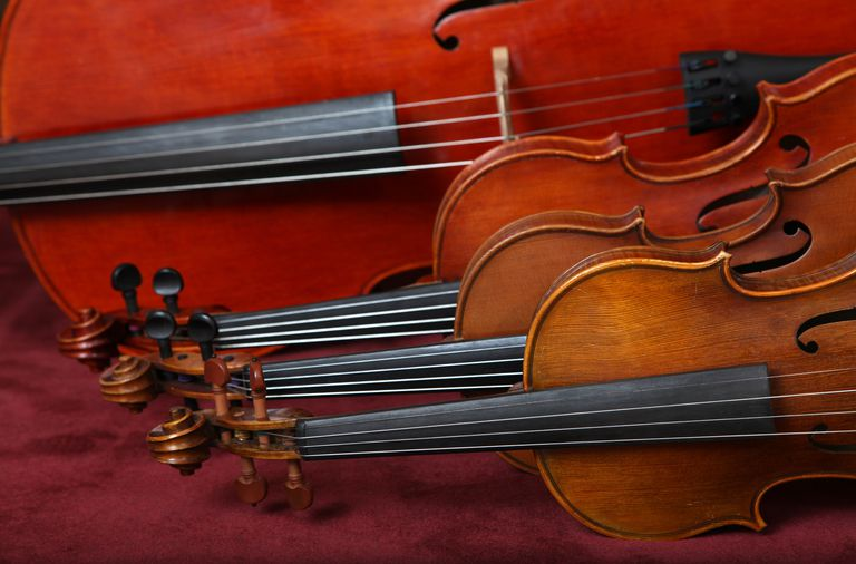 String quartet instruments lying on their side