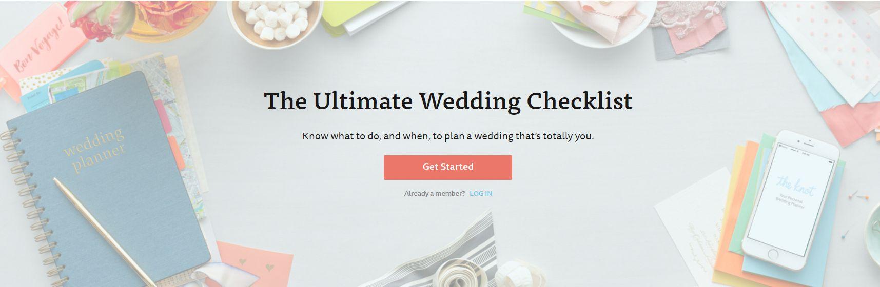 A screenshot of The Knot's wedding checklist