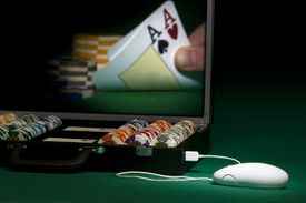 Image of a Personal Playing Poker Online
