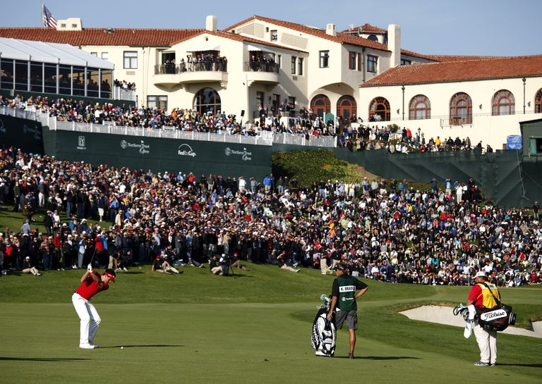 Keegan Bradley on the 18th Hole during the fourth day of the Northern Trust Open held at Riviera Country Club