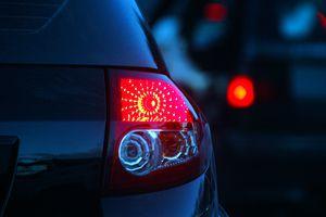 Rear light of blue car