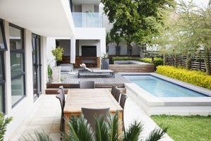 Modern patio next to swimming pool