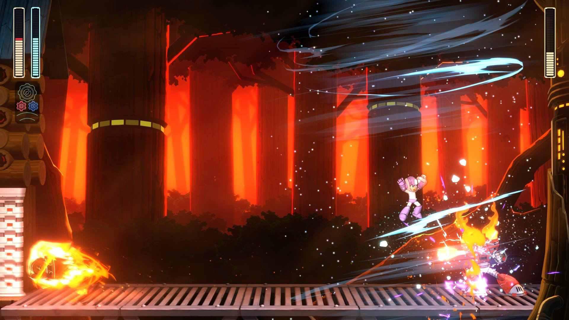 Mega Man attacks Torch Man in Mega Man 11
