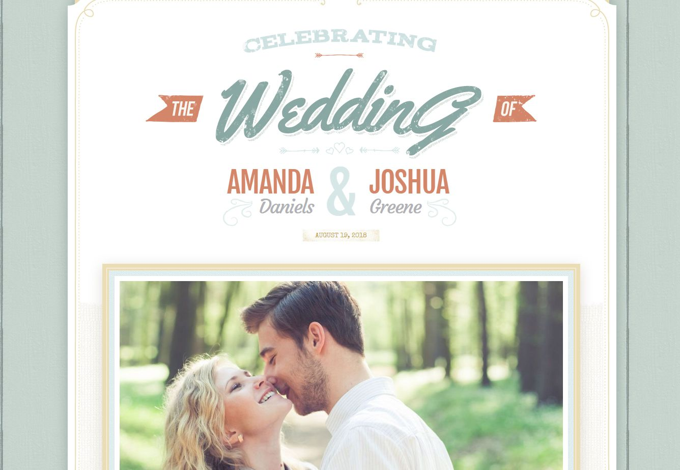 A green and orange wedding website with a photo of a couple