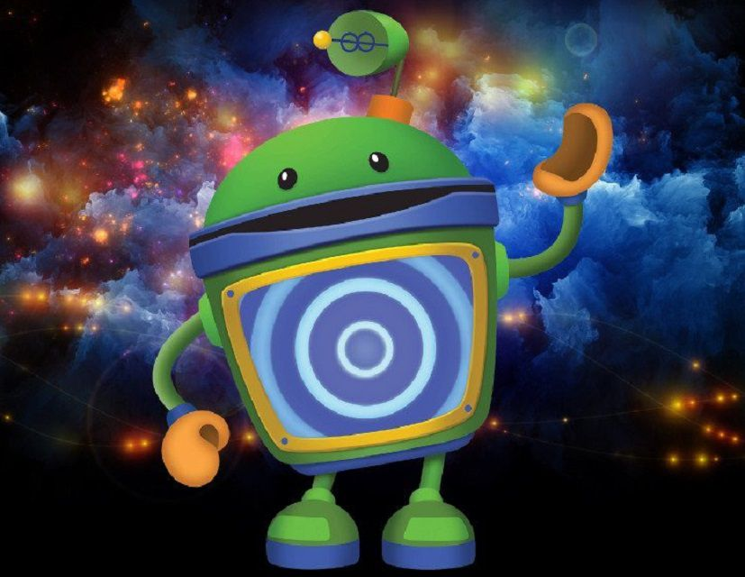 Bot from Team Umizoomi on a multi-color background.