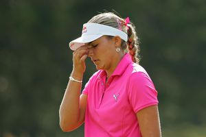 Lexi Thompson reacts after making a triple bogey during the ShopRite LPGA Classic tournament.