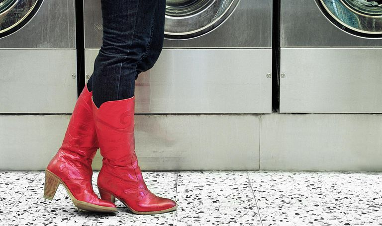 Red boots at laundromat