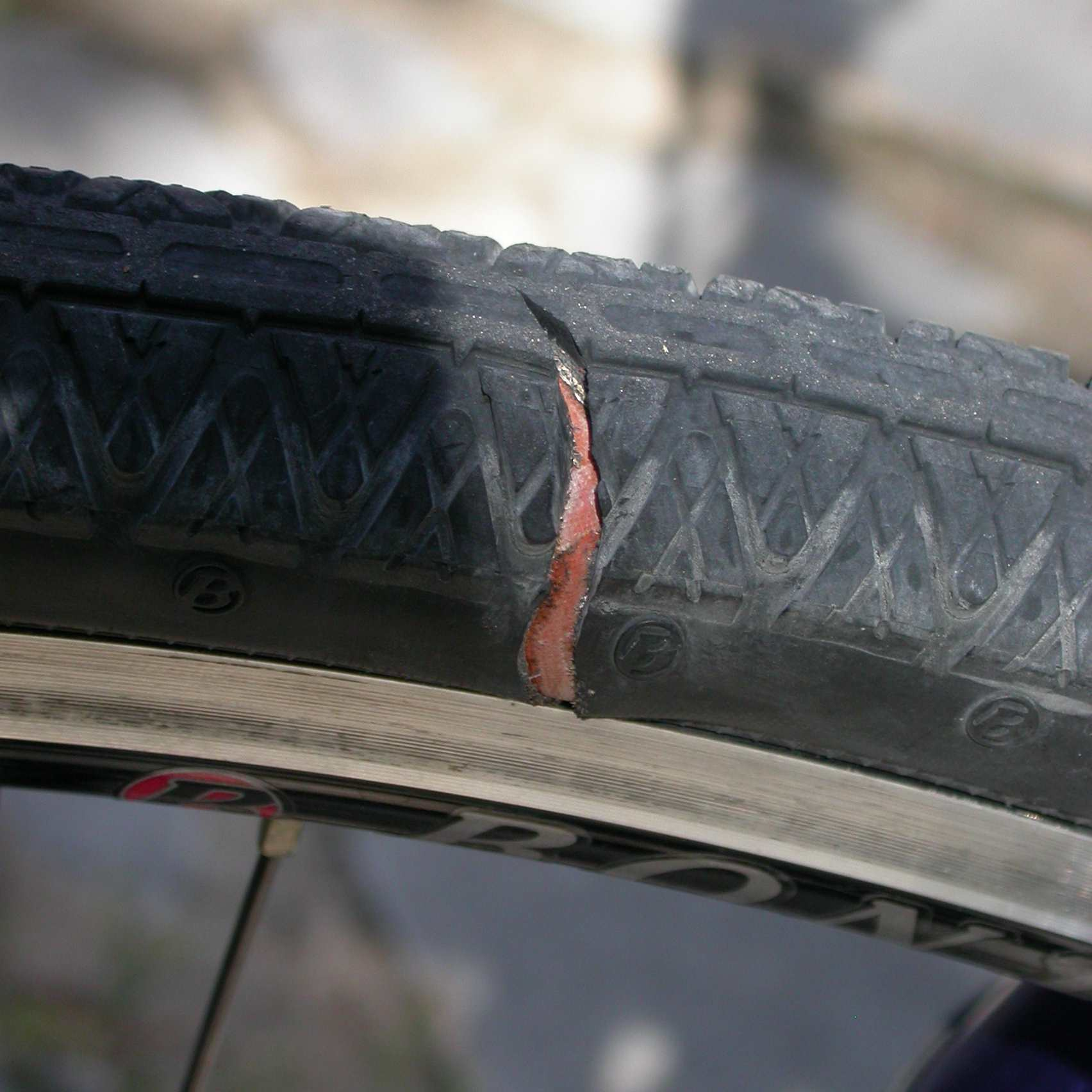 Bike tire with a gash in the sidewall