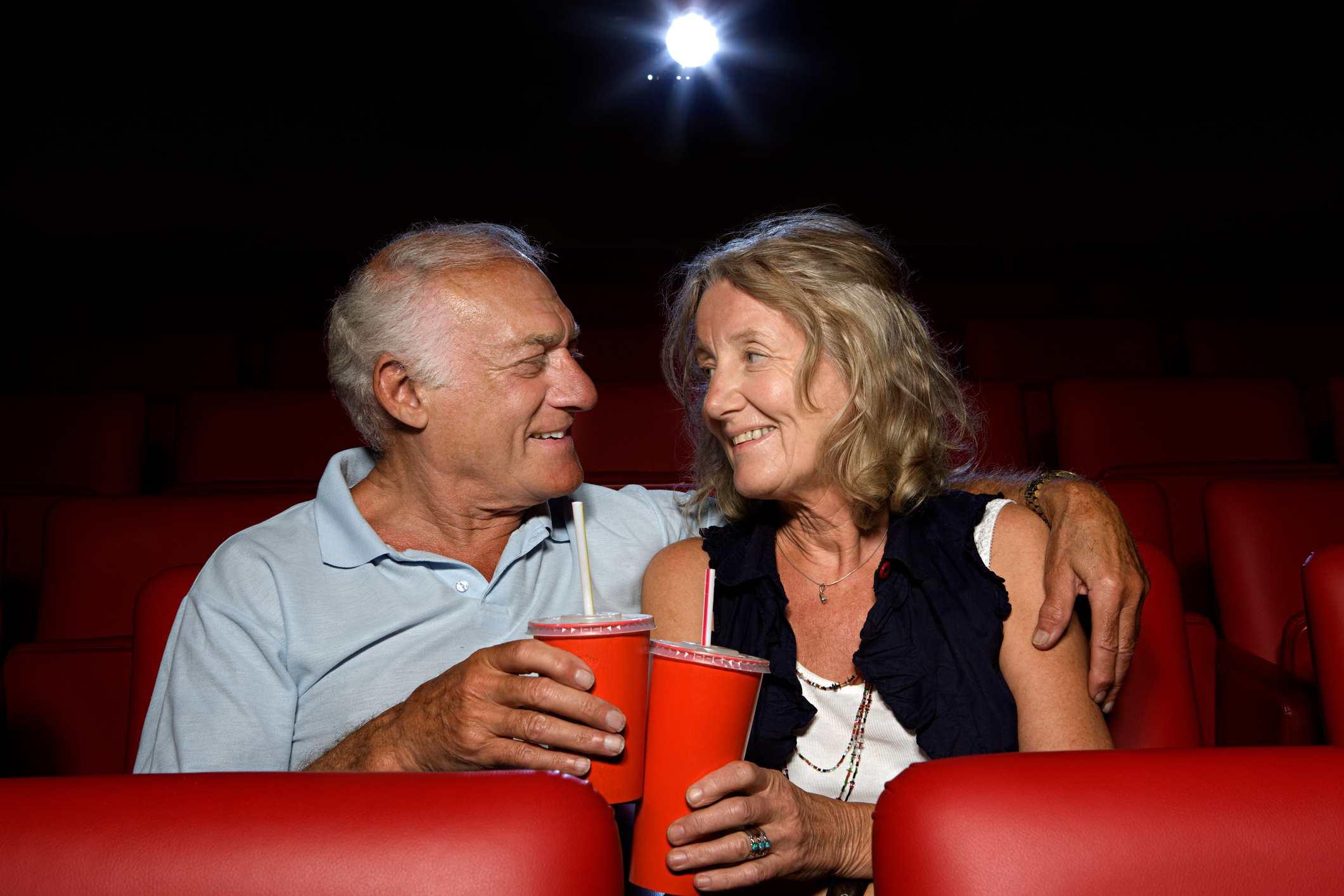 Senior Couple in Movie Theater
