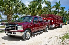 Red pickup truck hauling a trailer with palm trees in the background
