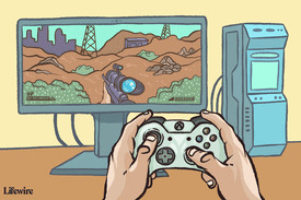 Illustration showing someone playing Fallout with an Xbox controller