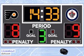 A hockey scoreboard depicting a score of 8 to 9