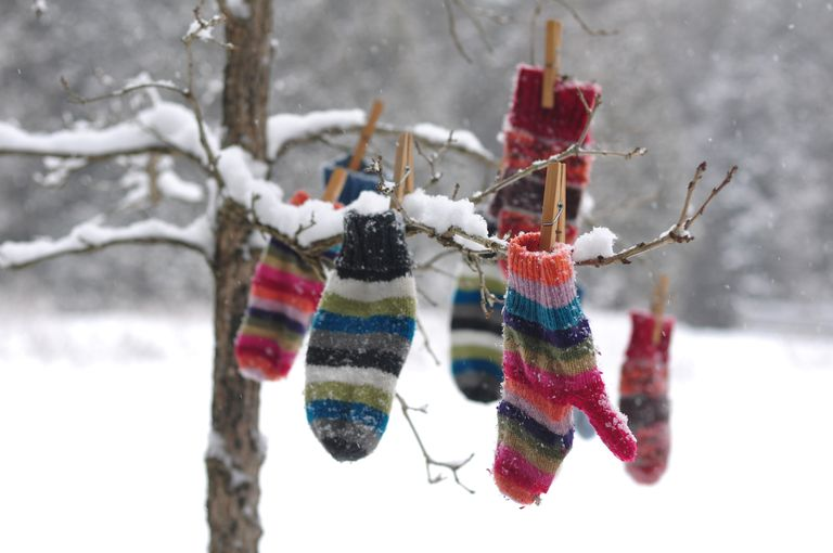Winter mittens hanging in tree.