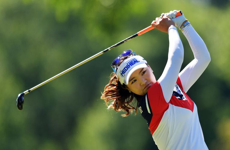 So Yeon Ryu hits her tee shot on the 13th hole during the Walmart NW Arkansas Championship tournament in 2017.