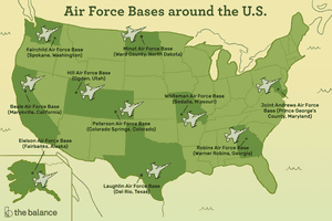 Image shows a map of the US where the state are light green, and those with air force bases are dark green with fighter jets on top of them. Text reads: