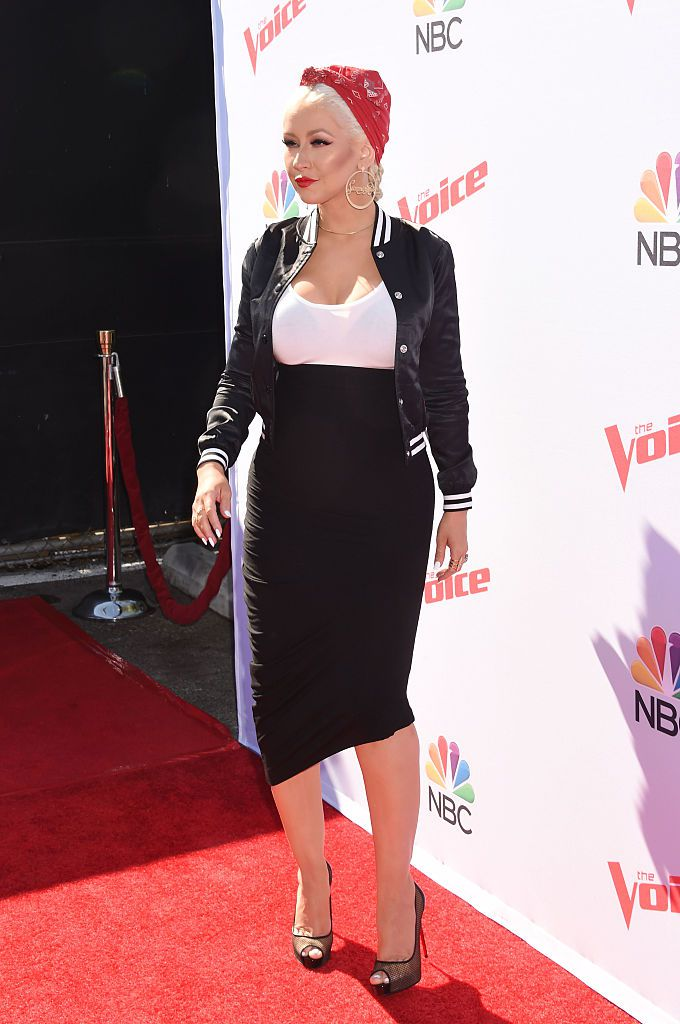 Singer Christina Aguilera arrives at 'The Voice' Karaoke For Charity event at HYDE Sunset: Kitchen + Cocktails on April 21, 2016 in West Hollywood, California.