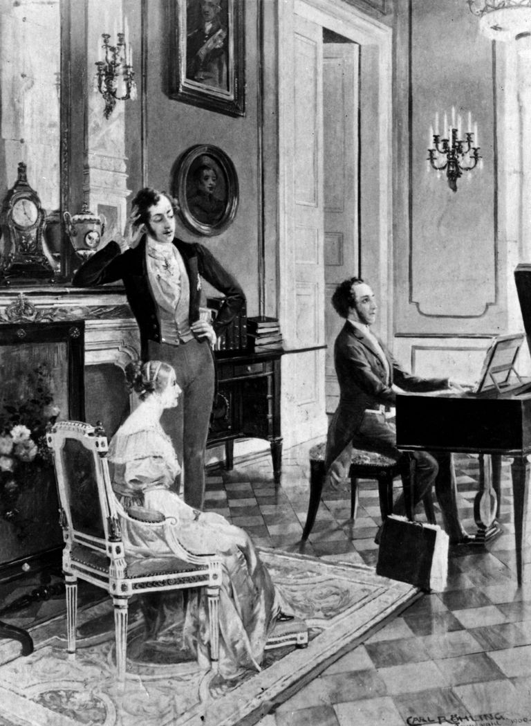 German composer Felix Bartholdy Mendelssohn (1809 - 1847) plays for Queen Victoria and the Prince Consort.