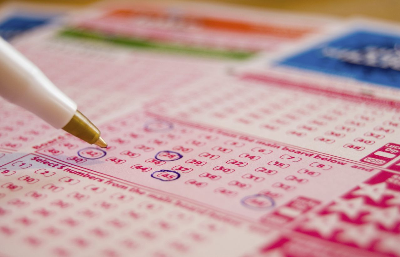 Image of a lottery ticket being filled out.