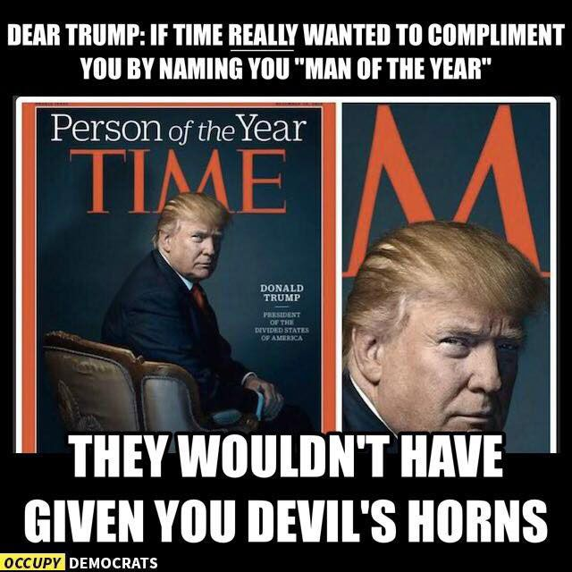 devil horns - Trump meme