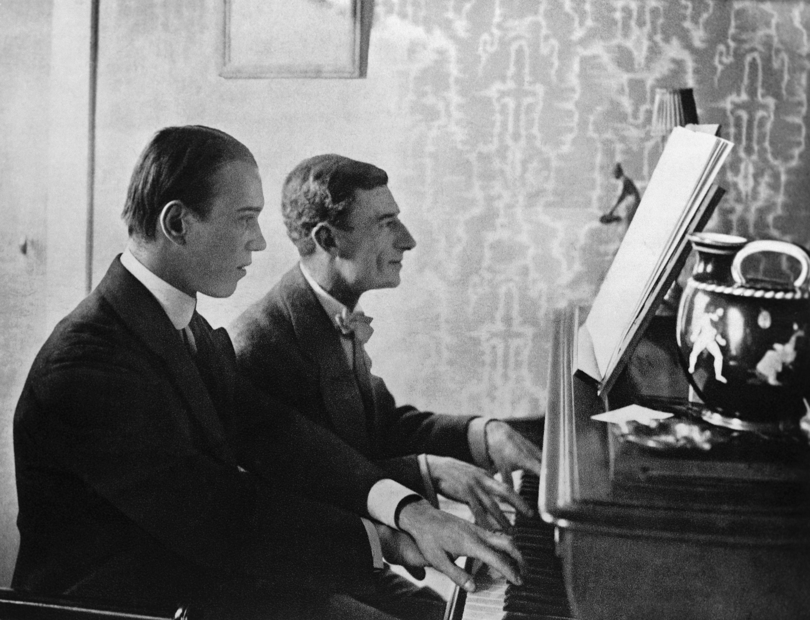 Choreographer Nijinsky and Composer Ravel Sitting at Piano