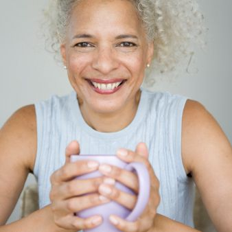 Woman with curly gray hair