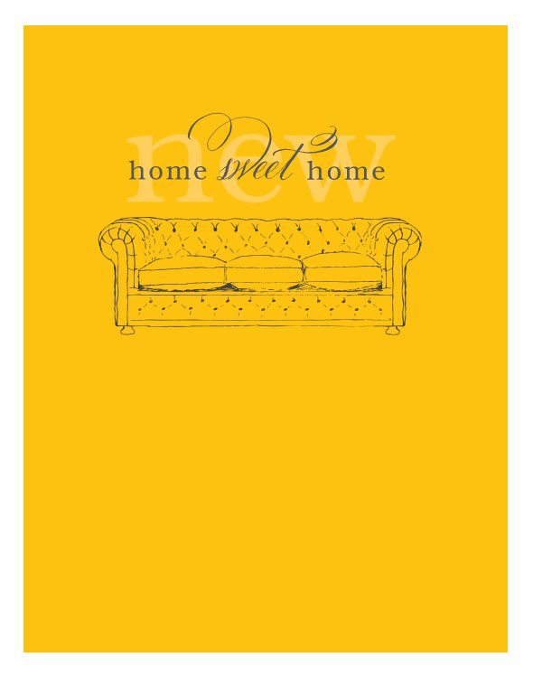 A yellow change of address cards with a sofa on it