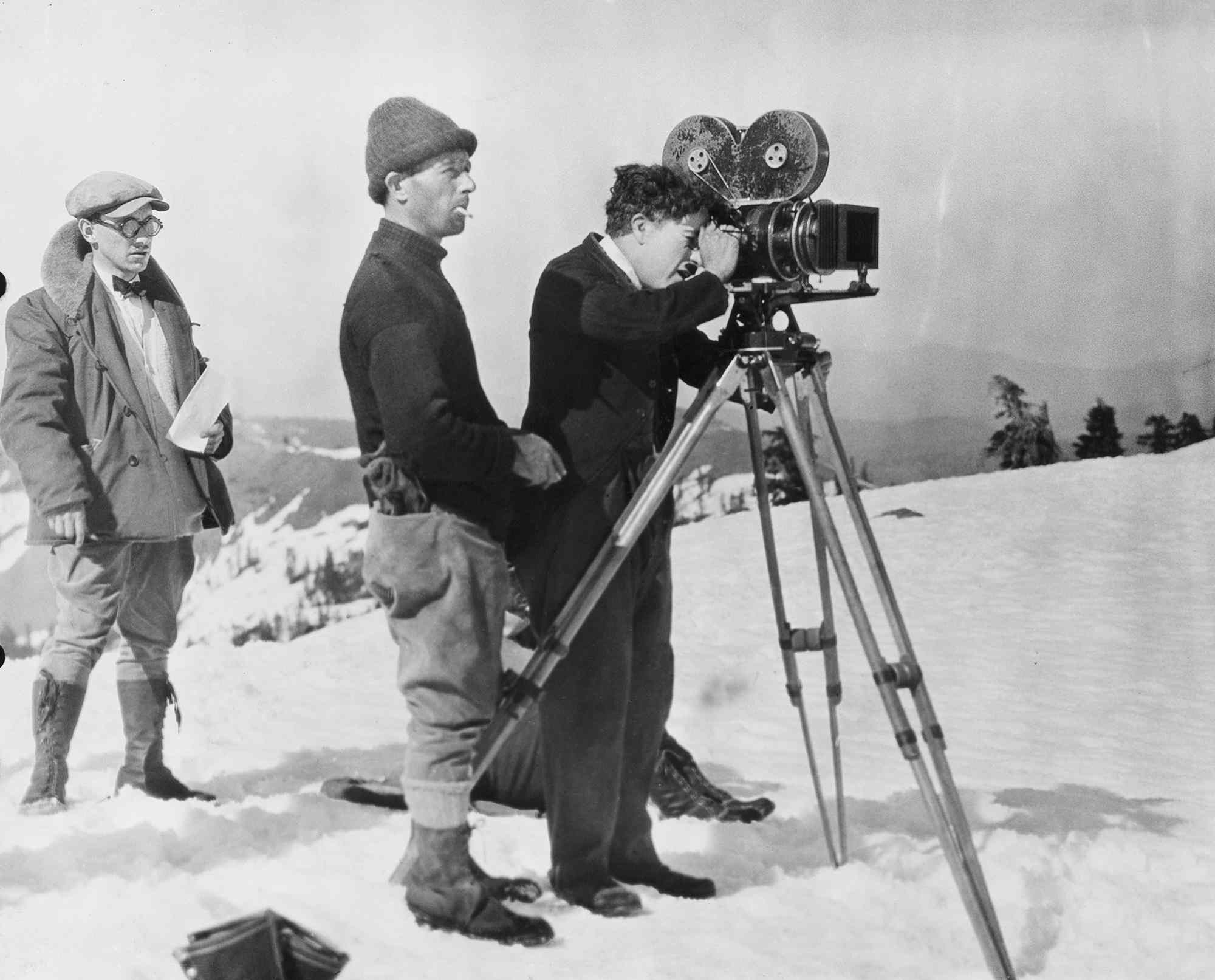 Charles Chaplin on the set of The Gold Rush
