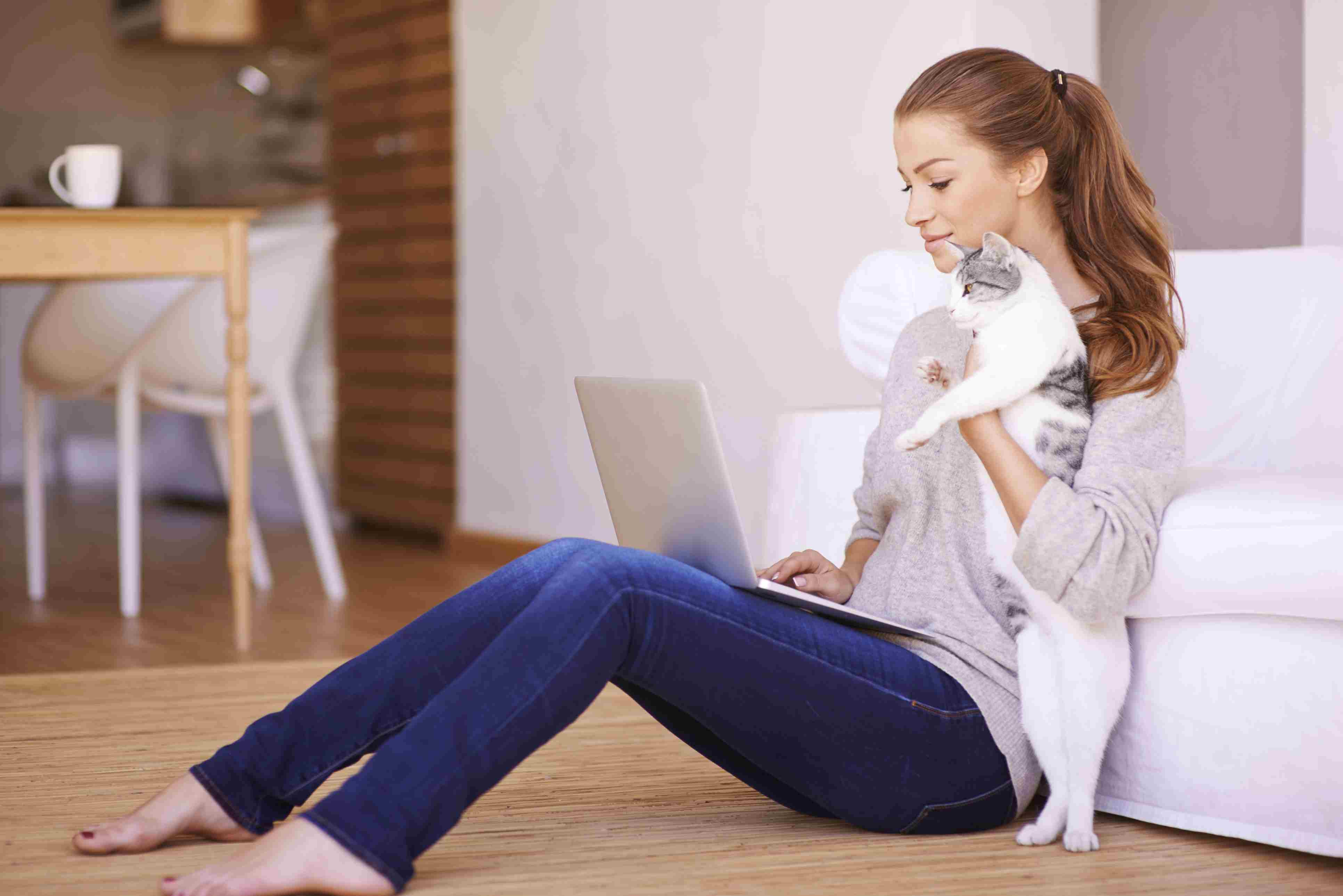 Woman in jeans typing on laptop holding a cat