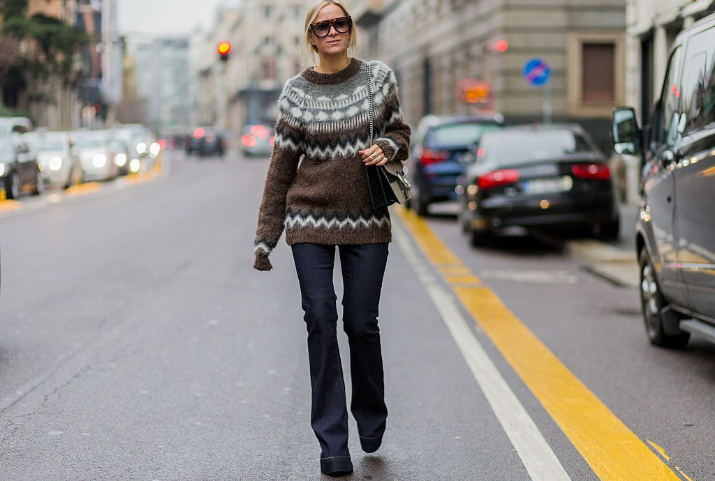 Street style for winter - fair isle sweater and jeans