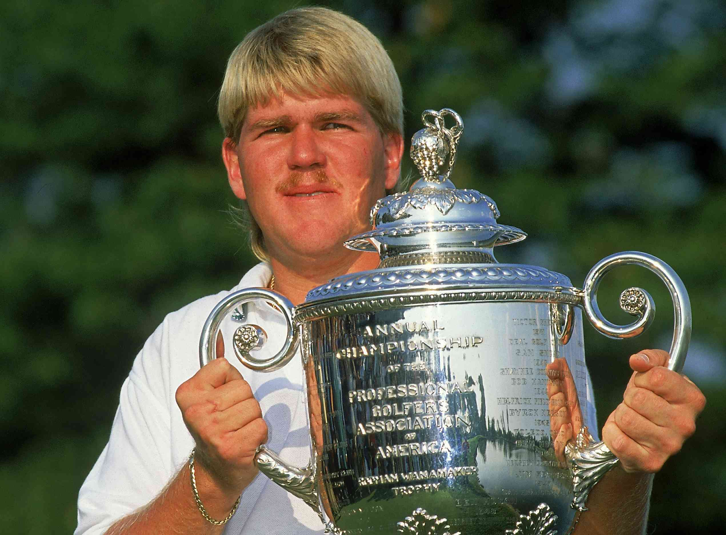 John Daly of the USA holds the trophy after winning the USPGA Championship at Crooked Stick in Carmel, Indiana, USA in August 1991.