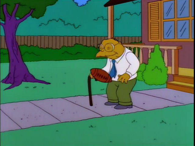 Hans Moleman in Man Getting hit With Football