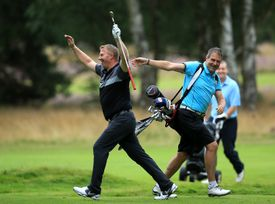 Philip Cary celebrates holing out for an ace during the 2015 Golfplan Insurance PGA Pro-Captain Challenge
