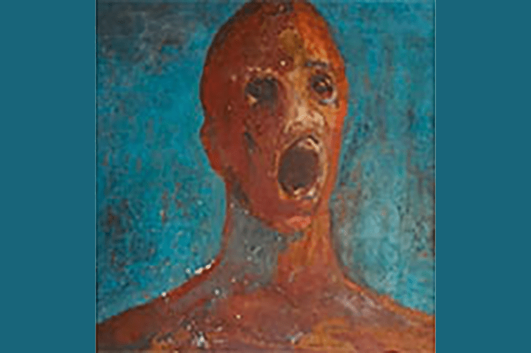 The Anguished Man haunted painting