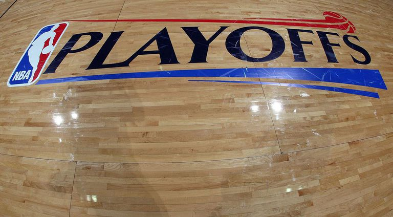 SAN ANTONIO - APRIL 18: The logo of the NBA Playoffs logo after play between the Dallas Mavericks and the San Antonio Spurs in Game One of the Western Conference Quarterfinals during the 2009 NBA Playoffs at AT&T Center on April 18, 2009 in San Antonio, Texas.