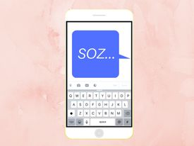 Illustration of SOZ appearing in a chat bubble on a smartphone