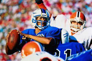 American football, quarterback looking to pass (Digital Composite)