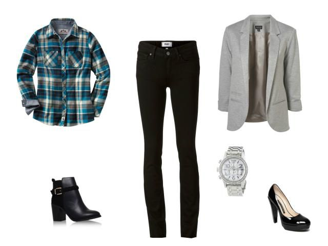 Black jeans and blue plaid shirt outfit