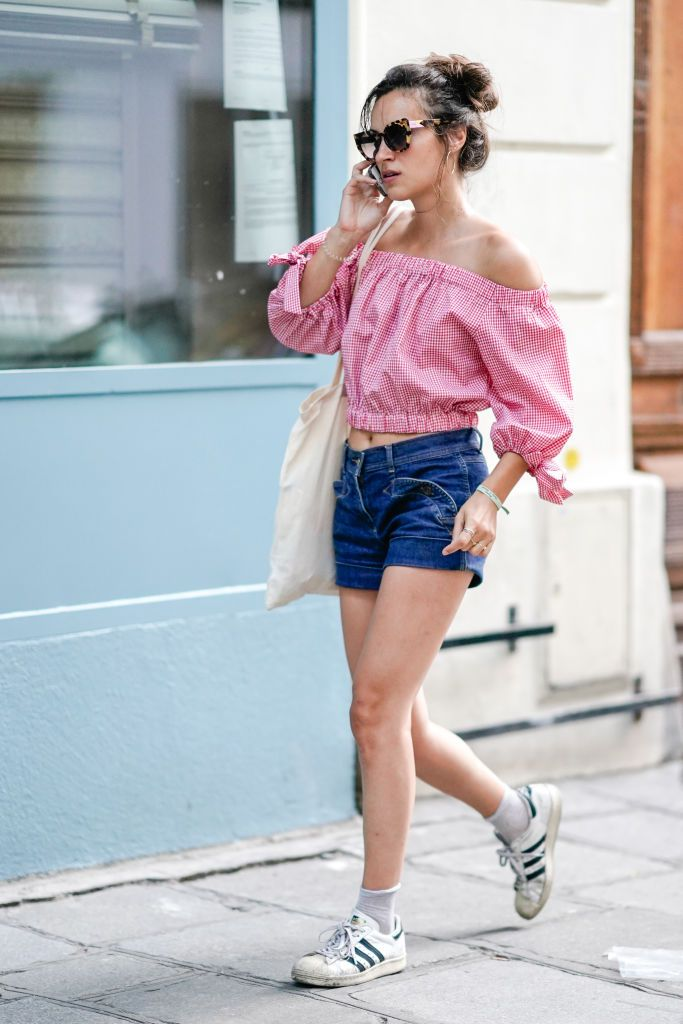 6fe4b64a6e Off the shoulder top and jean shorts for summer fashion