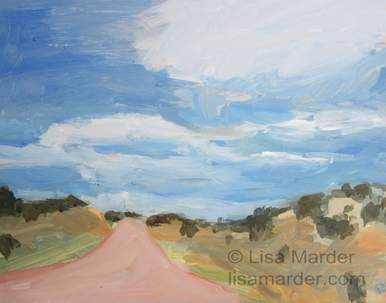 Painting of a road disappearing over a hill and a cloudy blue sky