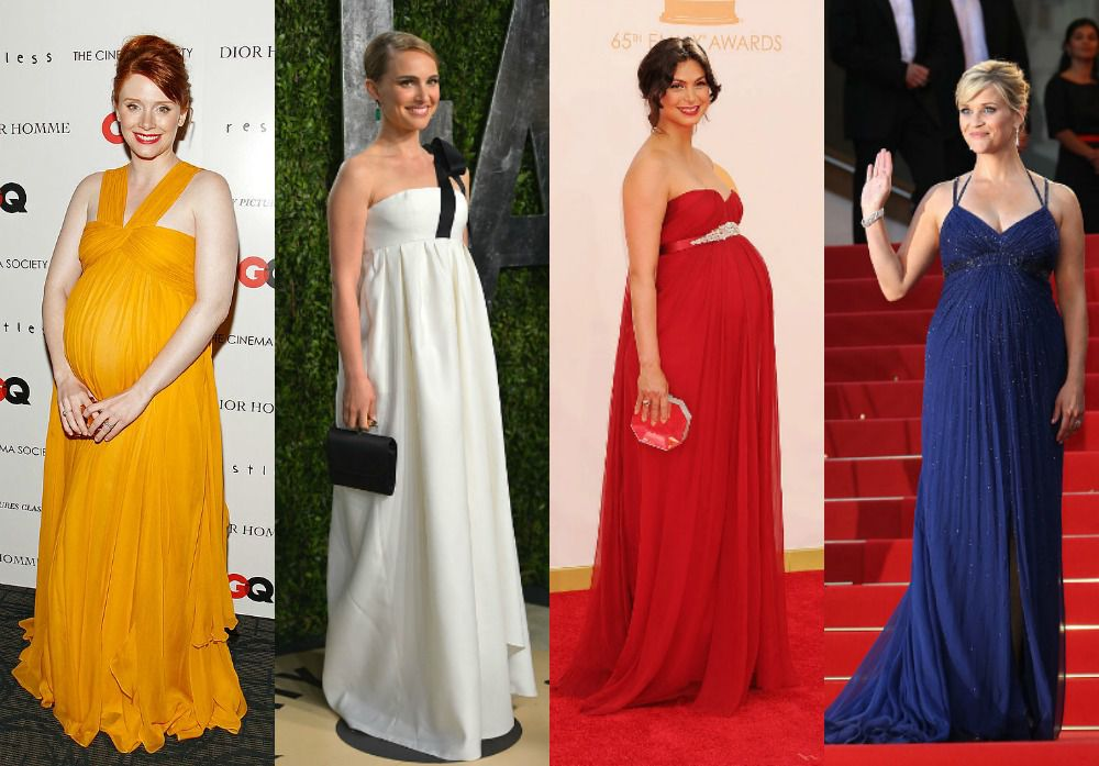 9c21ac688f5c Bryce Dallas Howard, Natalie Portman, Ashley Judd and Reese Witherspoon all  rocked empire waist dresses on the red carpet while pregnant.