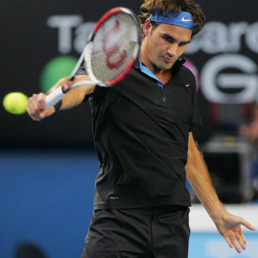 Roger Federer's Backhand Just After Contact