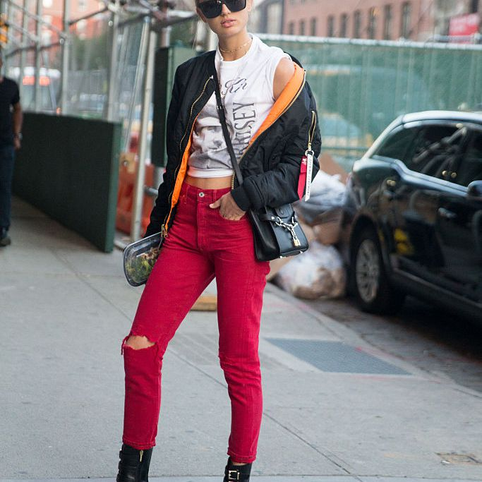 Street style red jeans