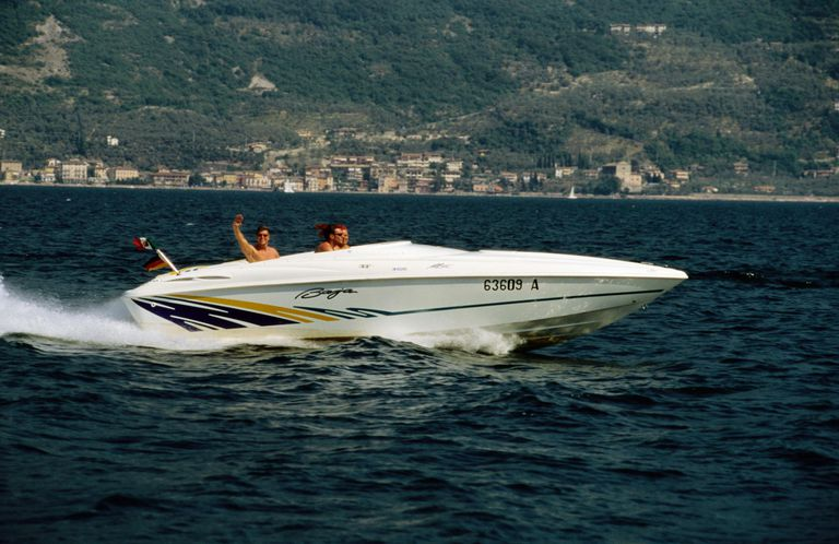People powerboating on Lago di Garda (Lake Garda)