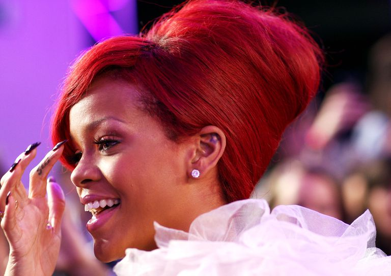 Rihanna in red updo hairstyle