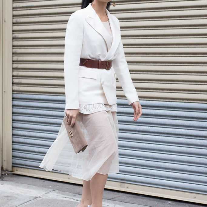 Street style outfit for women sheer skirt and white blazer