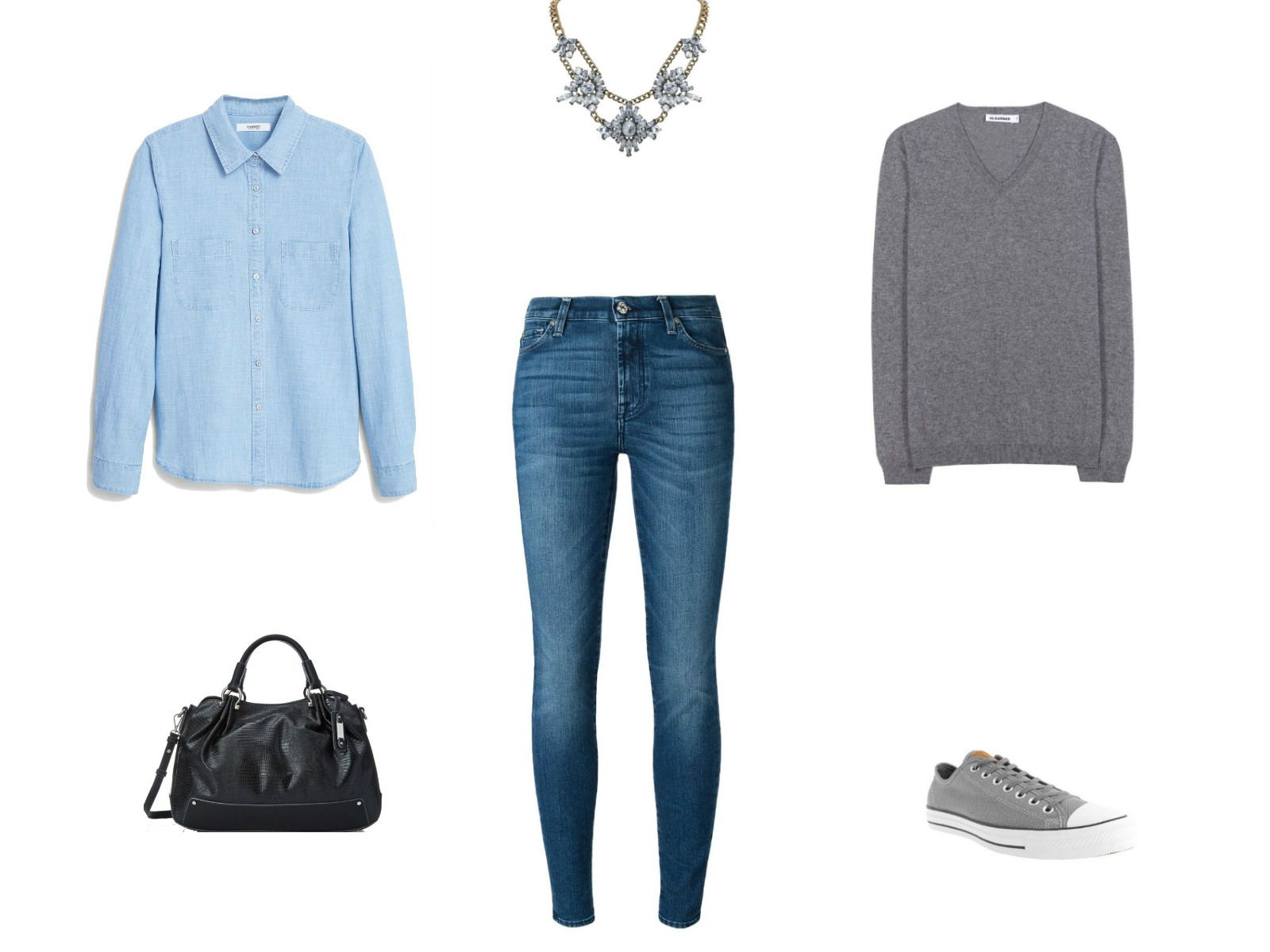 51a39131fe Denim shirt and jeans with a sweater outfit. Sweater weather inspiration for  wearing ...