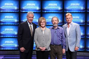 Alex Trebek with Celebrity Jeopardy contestants Pat Sajak, Jane Curtin, and Harry Shearer