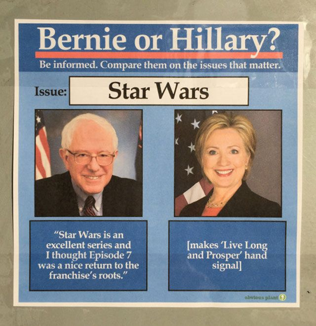 Bernie vs HIllary Meme Star Wars