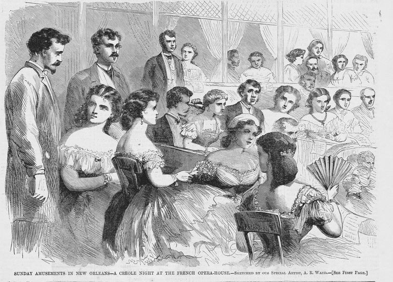 'Sunday Amusements in New Orleans--A Creole Night at the French Opera House' by Alfred B. Waud, 1866